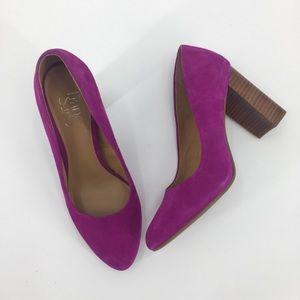 Franco Sarto Purple Suede Evie Chunky Heel, Sz 7.5